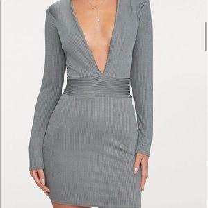 Low V-Neck Grey Long Sleeve Mini Dress